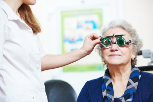 Optometry. female doctor ophthalmologist or optometrist examines